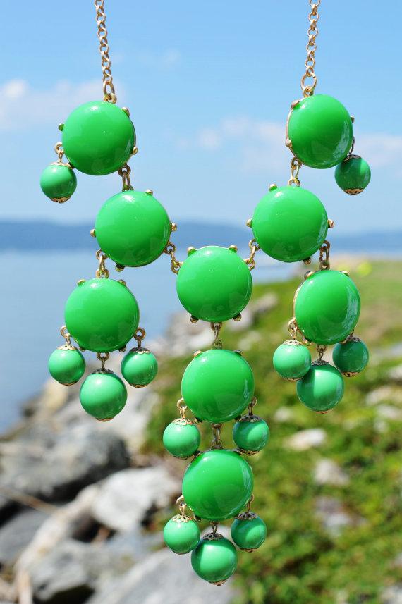 FREE NECKLACE SALE Bubble Bib Necklace- Bib Bubble Necklace Green