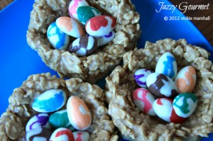 Peanut Butter Caramel Chewy Easter Egg Nests