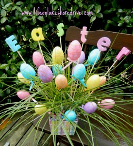 Easter Egg Spring Decor Arrangement, DIY, dollar store