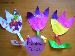 painted tulips flower craft - perfect for mother's day