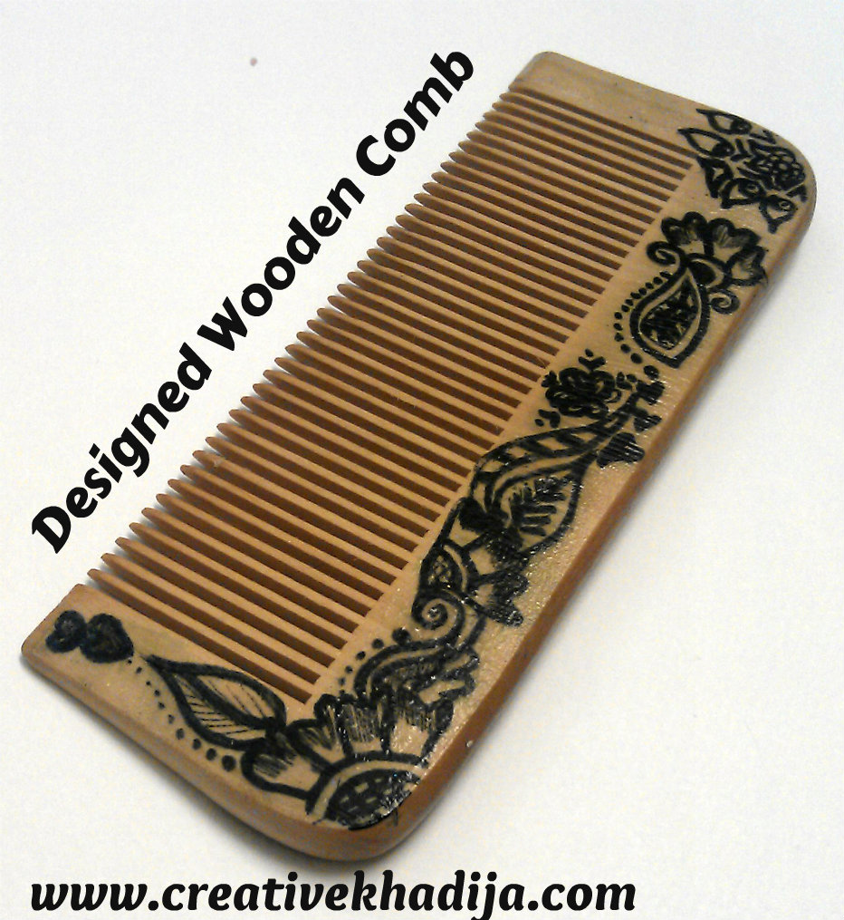 designed wooden comb