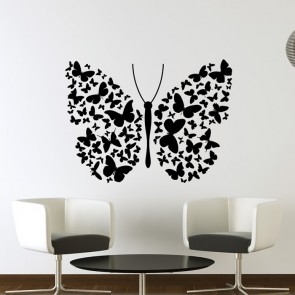Big BUtterfly of Lots of Small Butterflies Wall Art Decals Wall Sticker