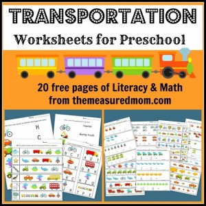 free transportation worksheets for preschool the measured mom027 590x590 Transportation Worksheets for Preschool   20 free pages of Literacy and Math