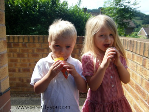 My kids eating their Jubbly Ice Lollies
