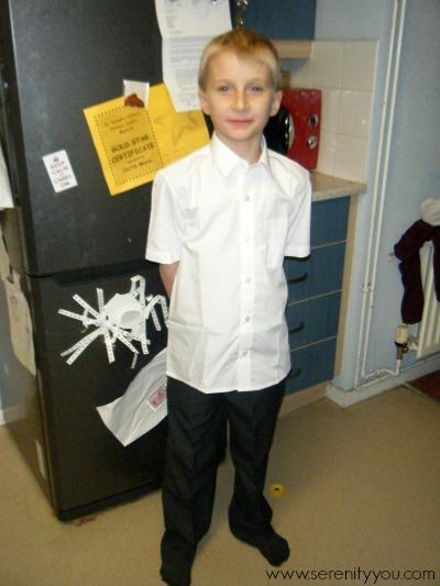 wearing his trutex school uniform