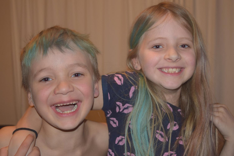 Aaron and Caitlin having fun with hair chalks