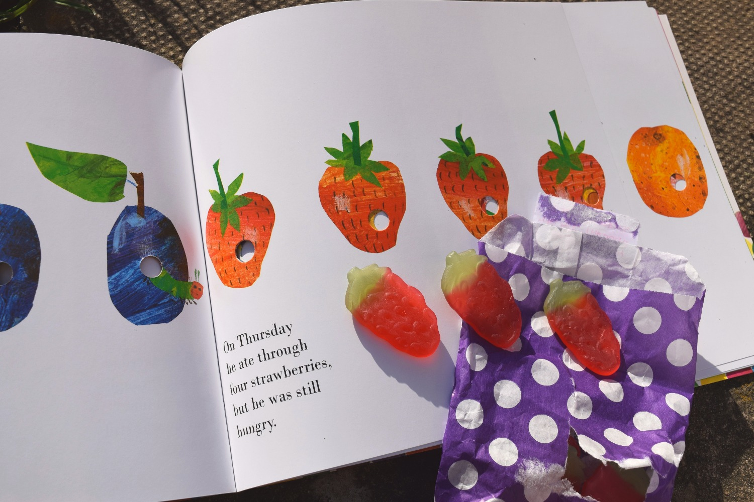 hungry Caterpillar book and strawberry sweets