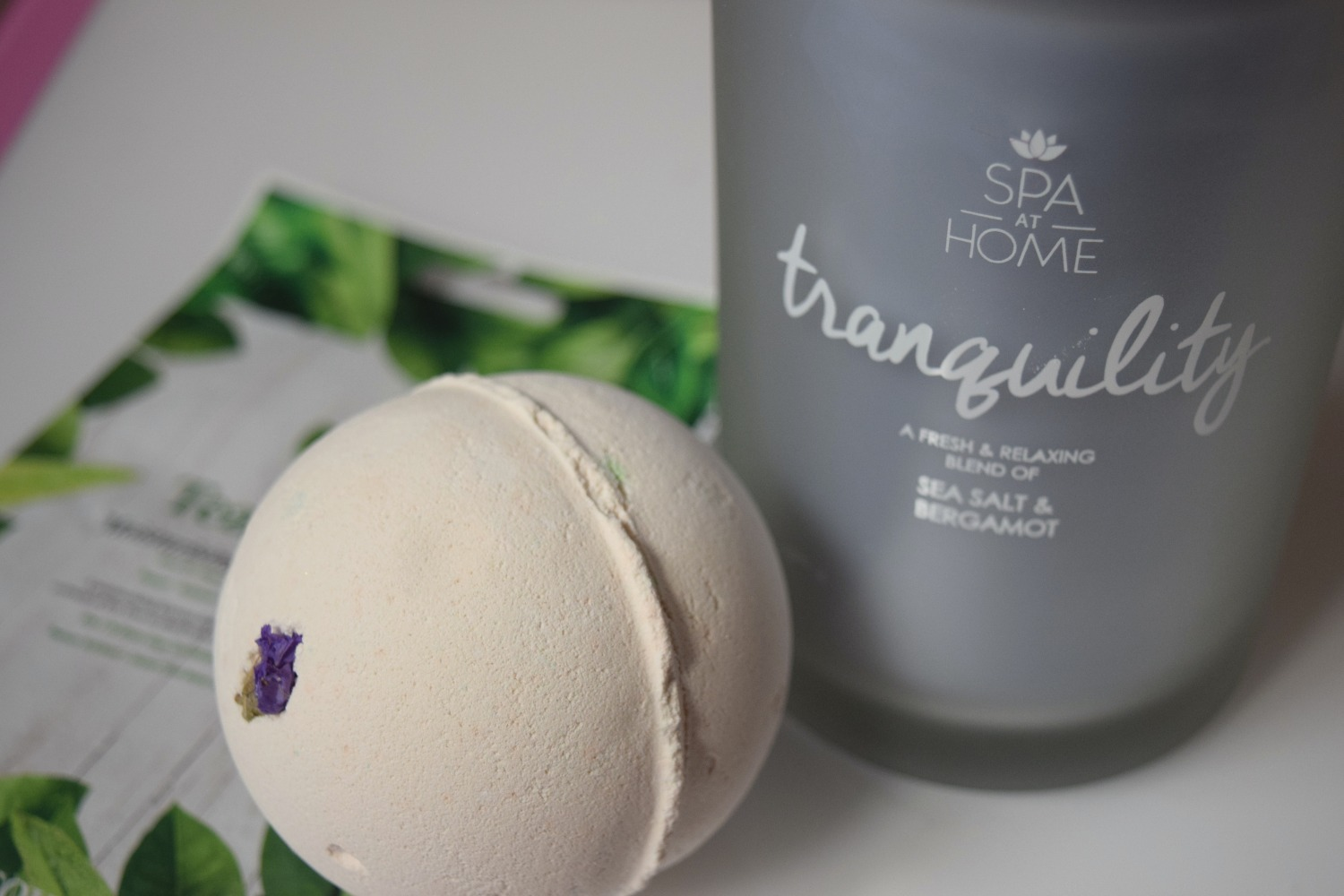 self care items - bath bomb and candle